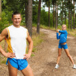 Young are engaged in fitness outdoors — Stock Photo