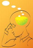 Muž myšlení — Stock vektor