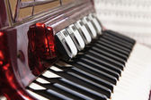 Red accordion, close up — Foto Stock