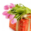 Pink tulips and gift box, it is isolated on white — Stock Photo #9095351