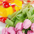 Pink tulips and gift box — Stockfoto #9095368