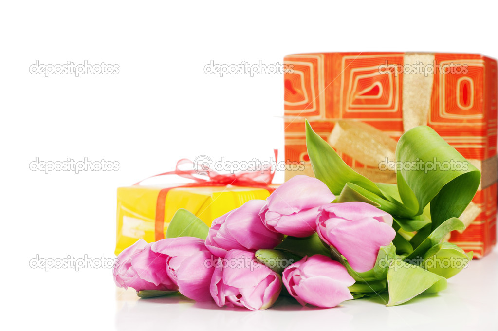 Pink tulips and gift box, it is isolated on white  Stock Photo #9095359