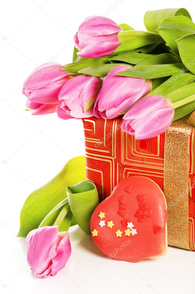 Pink tulips and gift box, it is isolated on white  Stock Photo #9095364