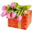 Pink tulips and gift box, it is isolated on white — Stock Photo