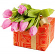 Pink tulips and gift box, it is isolated on white — Stock Photo #9115673
