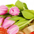 Pink tulips and gift box, it is isolated on white — Stock Photo #9115678
