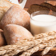 Stock Photo: Bread, rolls and glass of milk