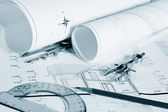 Blueprints - professional architectural drawings — Stock Photo
