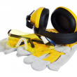 Safety gear kit close up over white — Stock Photo #9591442