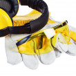 Safety gear kit close up over white — Stock Photo #9591444