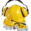 Safety gear kit close up over white — Stock Photo #9591448