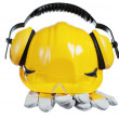 Safety gear kit close up over white — Stock Photo #9591450