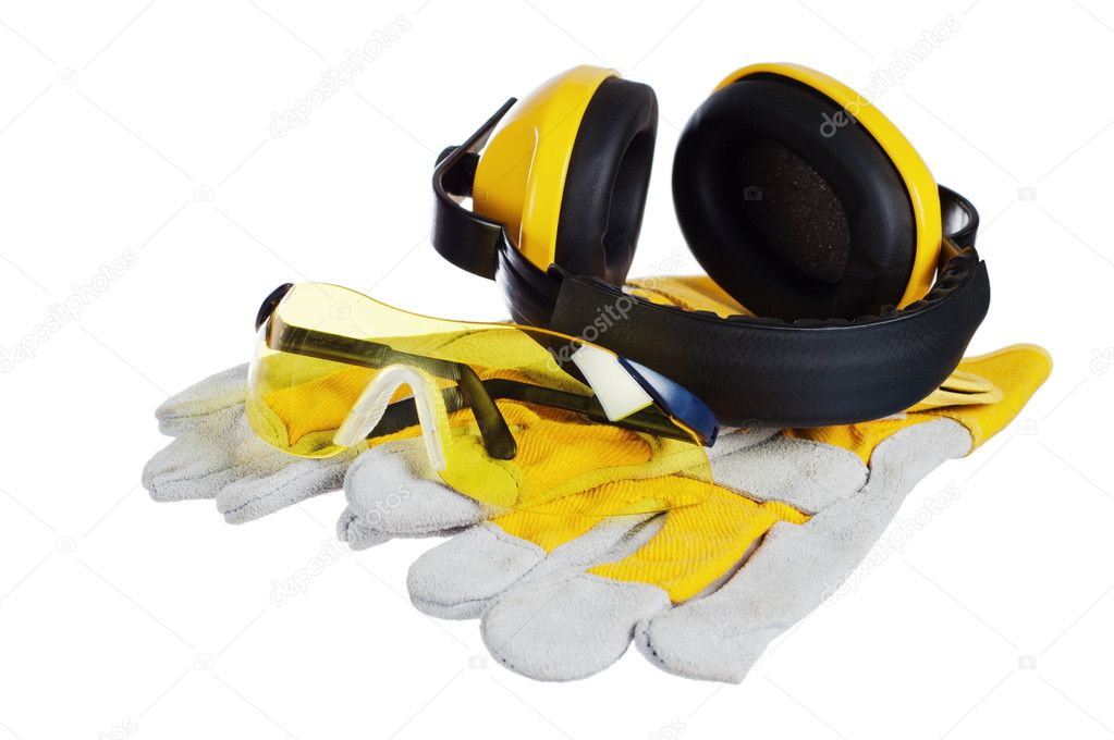 Standard construction safety equipment, it is isolated on white — Stock Photo #9591442
