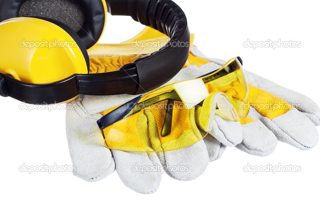 Standard construction safety equipment, it is isolated on white — Stock Photo #9591444