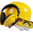 Safety gear kit close up over white — Stock Photo #9617422