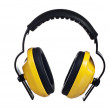 Yellow working protective headphones, it is isolated on white - Stock Photo