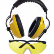 Safety gear kit close up over white — Stock Photo #9617429