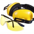 Safety gear kit close up over white — Stock Photo #9617432