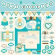 Wedding`s Day scrapbook elements - Stock Vector