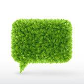 Bubble voor toespraak groene bladeren. — Stockvector