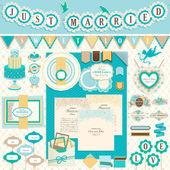 Wedding`s elementos del libro de recuerdos días — Vector de stock