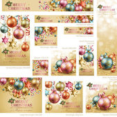 Collection of Christmas vintage banners — Stock Vector