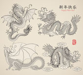 Set of Dragons — Vector de stock