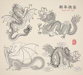 Set di draghi — Vettoriale Stock
