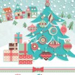 Funny Christmas postcard — Vector de stock