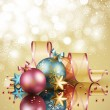 Christmas background with balls — Imagen vectorial
