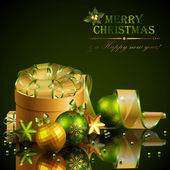 Christmas background with green and golden balls — Stock Vector