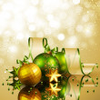 Christmas background with green and golden balls - Stock Vector