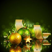 Christmas background with green and golden balls — Vetorial Stock