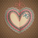 dia dos namorados cartão vintage com coração — Vetorial Stock