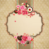 Valentines Day vintage lace card — ストックベクタ