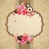 Valentinky den vinobraní krajky karta — Stock vektor