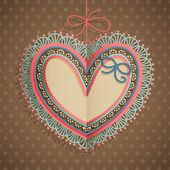 Valentines Day vintage card with heart — Stock Vector