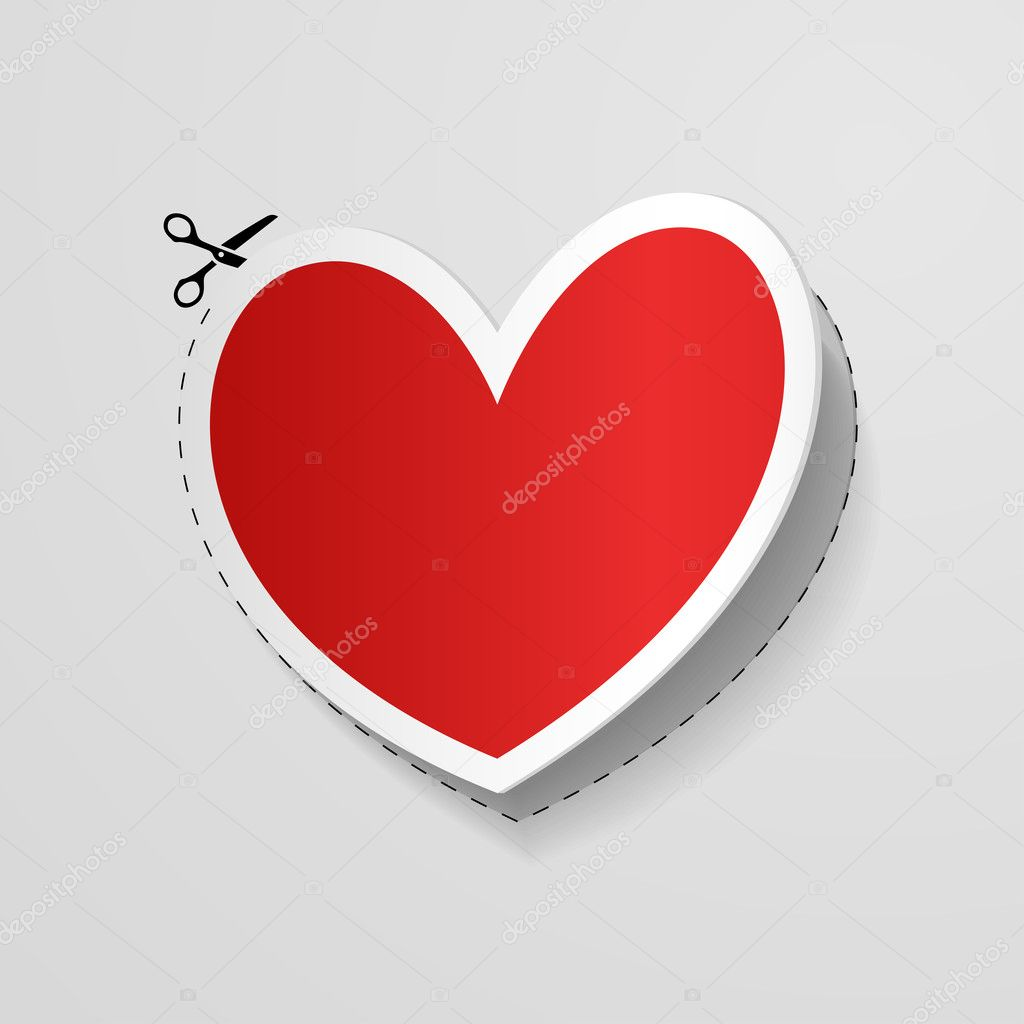 Valentines Day card with Heart shaped red ribbon isolated on white — Stock Vector #8649139