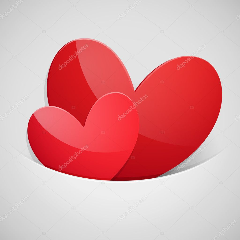 Valentines Day card with Heart shaped red ribbon isolated on white  Stock Vector #8649755