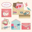 Stock Vector: Valentine`s Day vintage envelops.