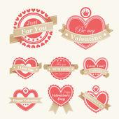 Etiquetas de día de san valentín — Vector de stock
