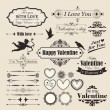 Valentine`s Day vintage design elements and letterning. — Stockvectorbeeld