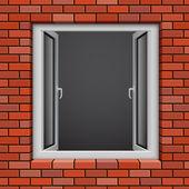 Opened plastic window — Stock Vector
