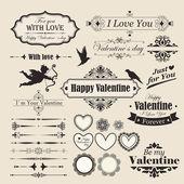 San valentino elementi di design vintage giorno e letterning. — Vettoriale Stock