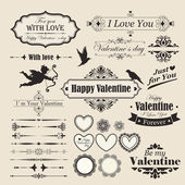 Valentine`s Day vintage design elements and letterning. — Stockvektor