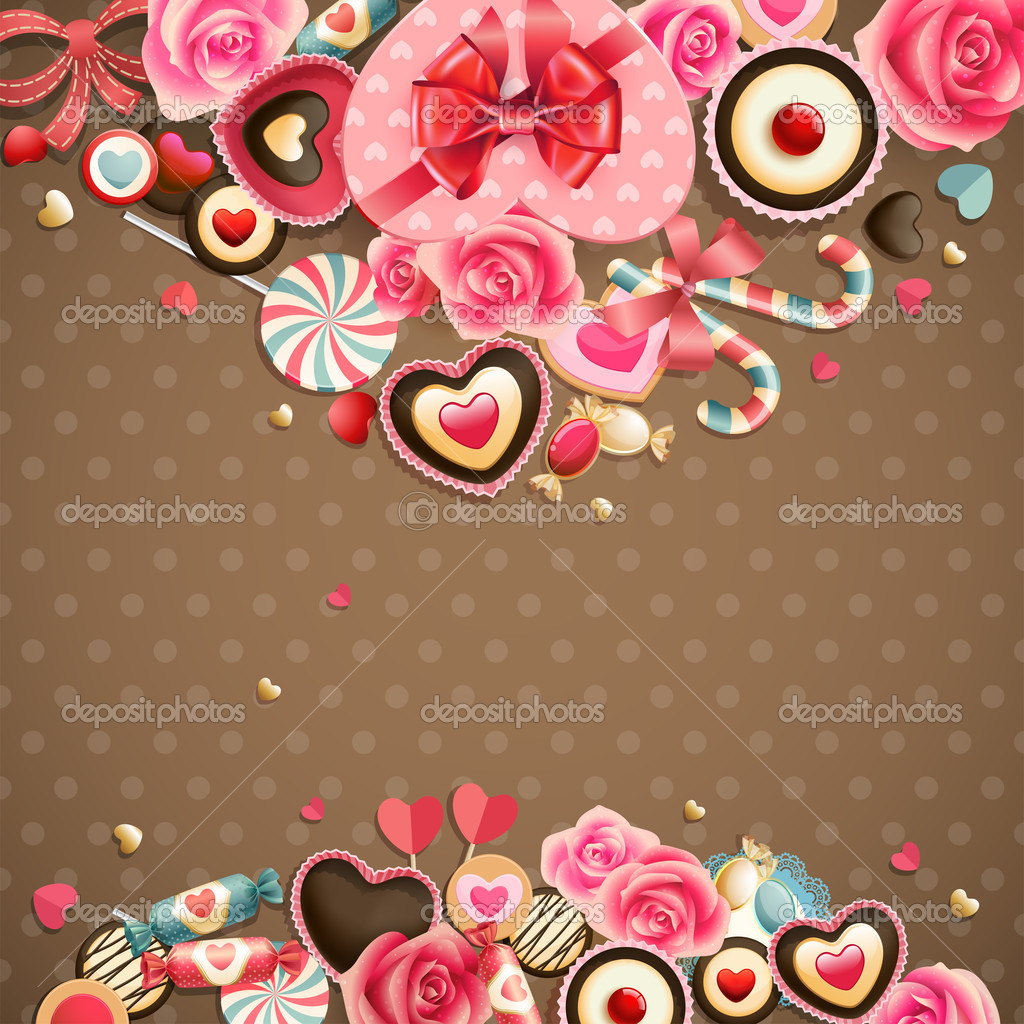 Valentine`s Day vintage card with sweets and place for text. — Stock Vector #9124435