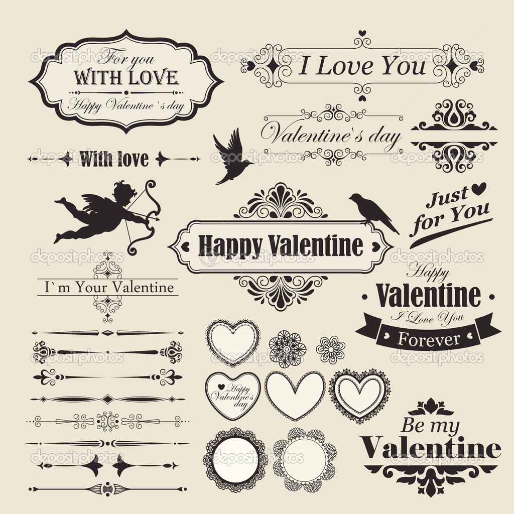 Valentine`s Day vintage design elements  Vektorgrafik #9124436