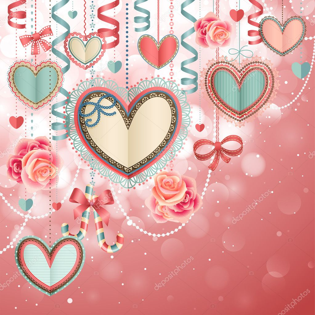 Valentines Day vintage card with paper hearts and place for text. — Stock Vector #9124523