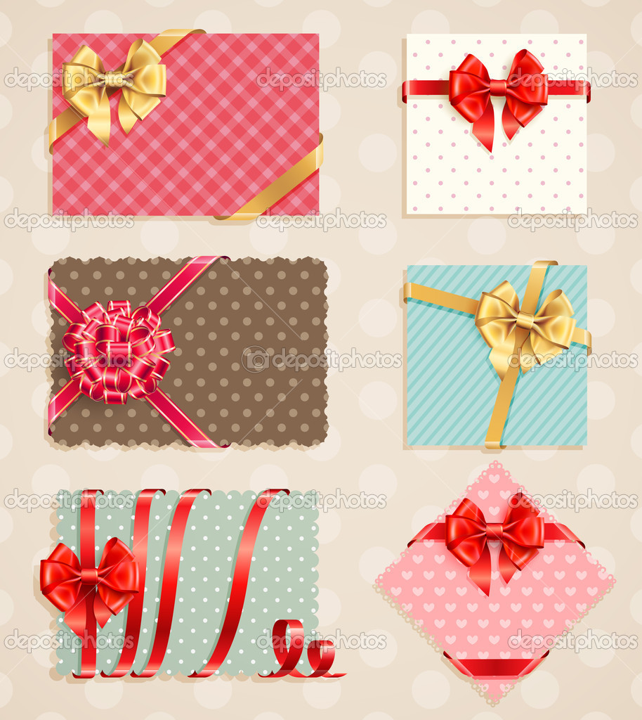 Bows Collection with vintage greeting cards. Vector illustration. — Stock Vector #9124553