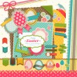 Stok Vektör: Easter scrapbook elements.